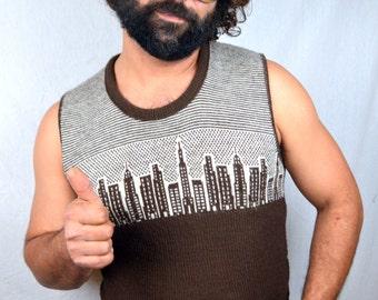 Vintage McGregor RAD City Skyline Brown Sweater Vest