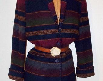 vintage 80s southwestern stripe blanket stitched jacket/blazer