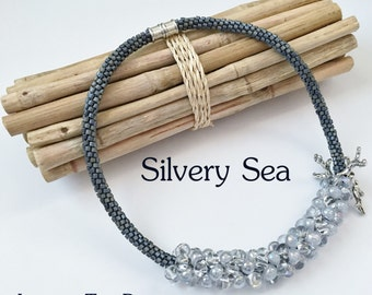 Silvery Sea Fully Beaded Kumihimo Necklace, Sterling Silver Coral Branches With Blue Grey Japanese Seed Bead Kumihimo Necklace