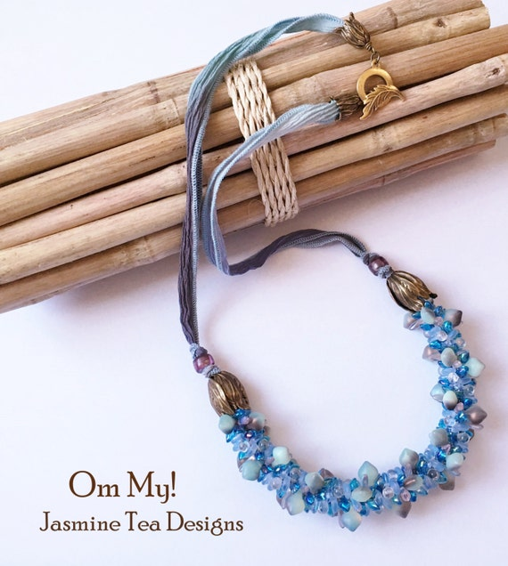 Om My! Beaded Kumihimo Necklace with Hand Dyed Silk, Ethereal Tones with Rich Azure and Turquoise Beaded Kumihimo Necklace