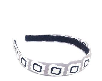Gray, Black and White Headband - Moroccan Trellis Print Headband - Girls Headbands, Adult Headbands - Quatrefoil Black, white and gray