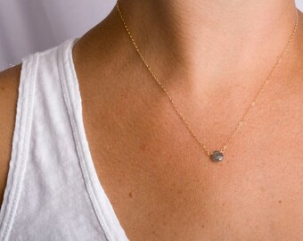 Simple Necklace, Simple Stone Necklace, Minimalist Necklace, Minimalist Jewelry, Gemstone Jewelry, Gemstone Necklace, Fine Jewelry, Green