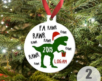 Dinosaur Christmas Ornament - Custom Boys 2015 Christmas Keepsake with T.rex - Christmas Holiday Ornament - Custom Kids Boy Holiday Gift