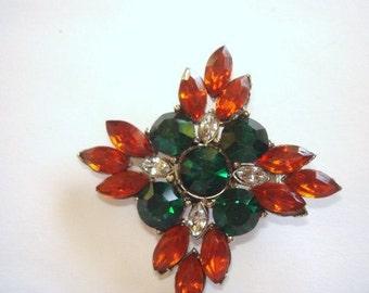Topaz Emerald Green Clear Rhinestone Star Silver Tone Brooch