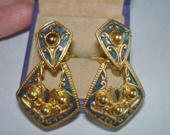 Blue Gold Tone Clip Earrings