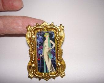 Lady Art Deco  Vintage Jewelry Brooch