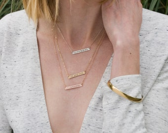 Thin Hammered Bar Necklace, Hammered Date Necklace Bridesmaids, Hand Stamped Letters Monogram Necklace, Bridal Initial Custom Name Necklace