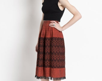 Vintage 70s Sienna and Black Woven Ethnic Skirt with Fringe | 0
