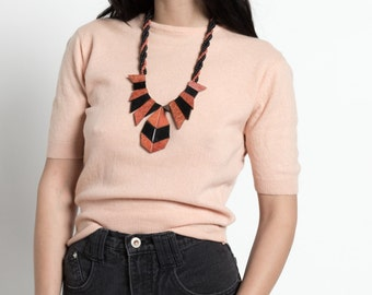Vintage 80s Black and Rust Red Geometric Statement Necklace