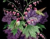 Fine Art Print of Original Watercolor Painting - Hummingbird Garden