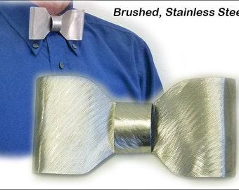 Metal, Brushed, Stainless Steel Bow Tie