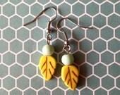 Mint and Mustard Leafy Luella Earrings