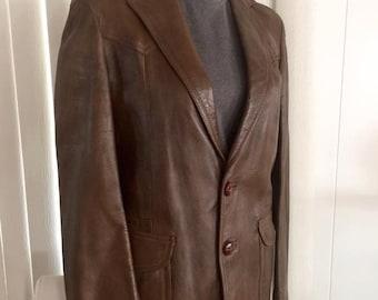 Vintage Men's Brown Leather  Hipster Jacket -- Size S-M
