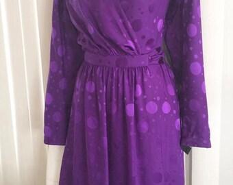 Vintage Pierre Cardin Designer Silk Dress in Purple -- 1970's - 1980's Wrap Dress