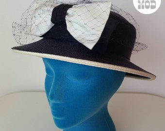 Vintage 50s 60s Navy Blue Straw Hat with White Bow and Veil!