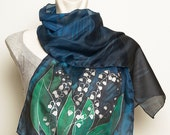 Mother Day Present Elegant  Hand Painted Silk Scarf Spring Dark Navy Blue Black White Lilly of the Valley Flower READY TO SHIP