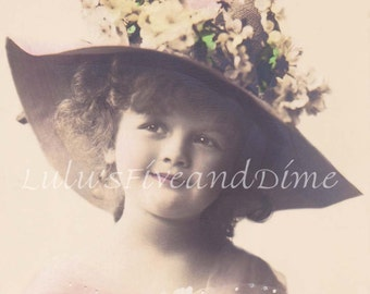 Instant Digital Download - Vintage Hand Tinted Photo of a Sweet Girl in a Flower Hat