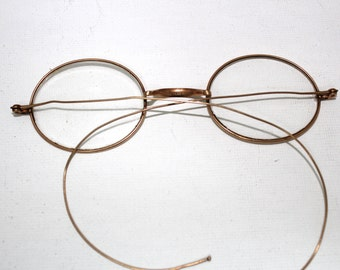 Antique Early 1800s Gold Optical Eyeglasses  // Hall Marked Glasses Frames 10c.09 // 19th Century Oval Lens Spectacles // RH1402