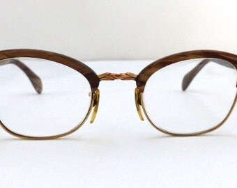 1950s American Optical Vintage Frames // Goldfilled // 50s 60s Eyeglasses // AO // Clubmaster Style