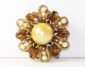Vintage Amber Rhinestone and Faux Pearl Sunburst Brooch Pin (B-1-6)