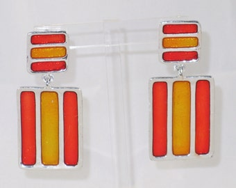 Vintage Large Orange and Yellow-Gold Enameled Striped Dangling Pierced Post Earrings (E-2-2)