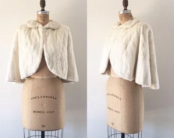 Vintage 1950s White Rabbit Fur Cape Ivory Shawl Stole Winter Wedding Fur Coat