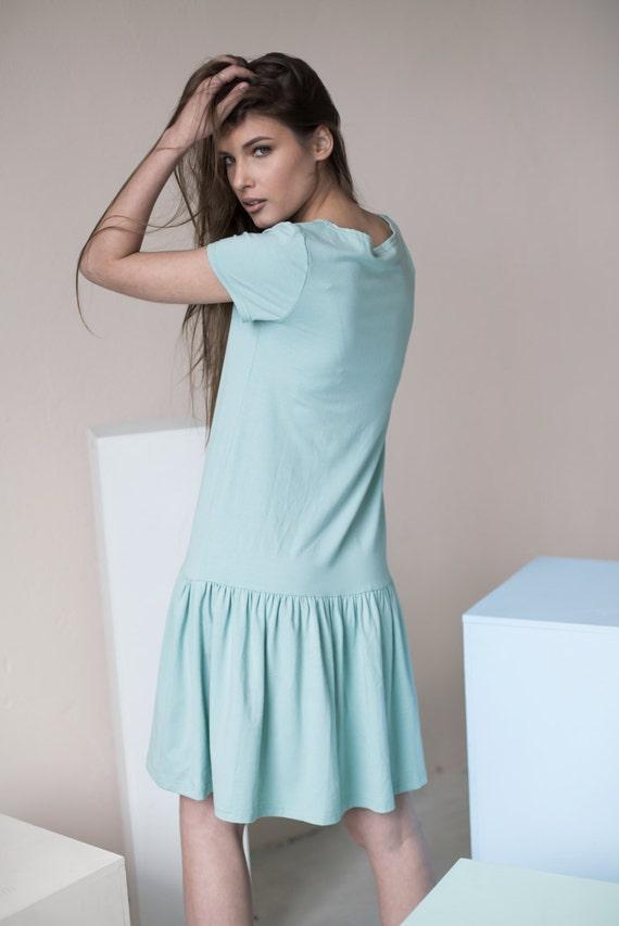 Cotton dress | Loose fitting dress | Mint green dress | LeMuse cotton dress