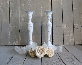 White Candle Holders, Ornate Candles, White Kitchen Decor, Shabby and Chic, Candle Dining Decor, Wedding Candle Decor, French Cottage Decor