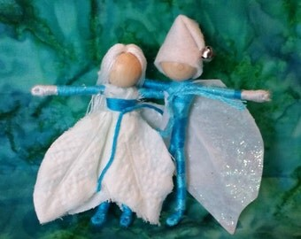Christmas Elf, Christmas Fairy, Twinkle toes, Ice Fairy, turquoise and white poinsettia fairy dolls