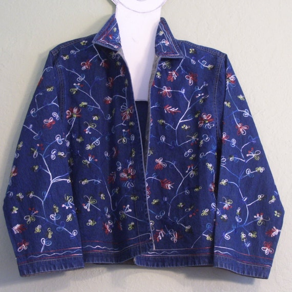Vintage jacket denim embroidered floral classic by