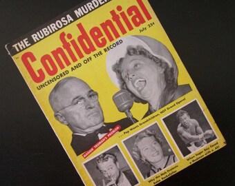 Confidential Magazine Vintage Gossip Periodical Sugar Ray Robinson, Marlon Brando, Red Skelton