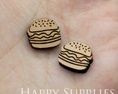 4pcs (SWC186) DIY Laser Cut Wooden Hamburger Charms