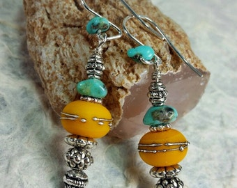 Turquoise and Warm Yellow Lampwork Glass Bead Southwest Style Earrings