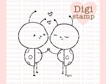Love Bugs Digital Stamp - Ladybug Stamp - Digital Ladybug Stamp - Ladybug Art -Valentine Card Supply - Valentine Craft Supply