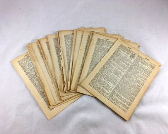 """50 Vintage Dictionary Pages. 1930s. Dictionary Pages w Illustrations. Altered Art, Collage, Mixed Media, Dictionary Page Prints. 9.25""""x6.75"""""""