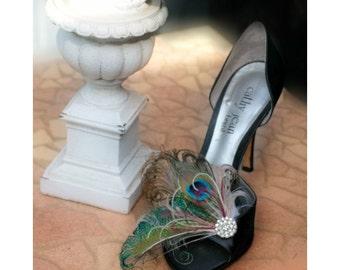 Wedding Shoe Clips Peacock Sword Feather & Rhinestone Crystal. Something Blue Bride Bridal Bridesmaid Clips, Statement Schuh-Clips Pfau Gift