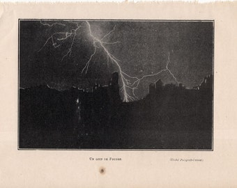1913 LIGHTNING flask print original antique weather storm lithograph