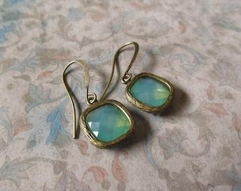 Noemi Earrings - Vintage Style, Opalescent Green in Antique Bronze