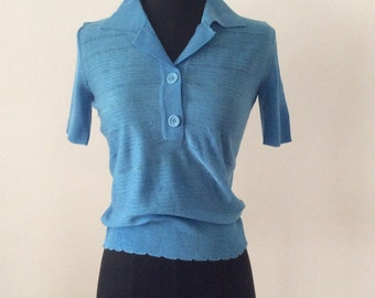 Vintage 1970s Italian Sky Blue Skinny T-Shirt Top / Button Up Collar / XS S