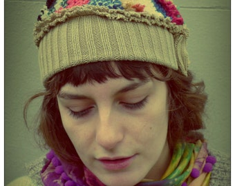 Upcycled HandKnit Multicoloured Wool Beanie Hat                ReMade in England UK