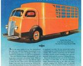 vintage art deco cab over engine large cargo truck illustration digital download