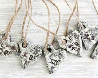 Salt Dough Ornaments / XOXO Heart Ornaments Set / Rustic Hearts / Wedding favors / Cottage Chic / Guest Favors / Gift Tags / Valentine Heart