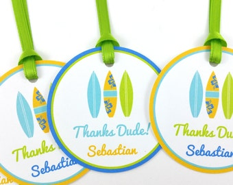 Surf Party Favor Tags, Beach Party Favor Tags, Surf Favor Tags, Surf Party Decorations - SET OF 12