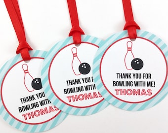 Bowling Party Favor Tags, Bowling Birthday Favor Tags, Bowling Tags, Bowling Party Decorations - SET OF 12