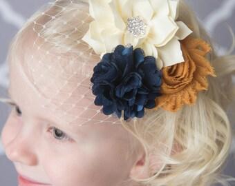 Navy Hair clip, Mustard hair clip, ivory hair clip, birdcage veil, bridal veil, wedding hair accessory, flower hair clip, flower girl clip