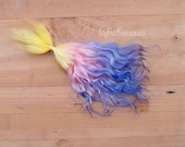 Doll Hair Combed Mohair locks 10 in Iris - yellow pink purple ombre shades goat fiber for reroot, momoco, wig, pullip, pukifee. Lafiabarussa