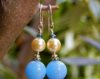 Serenely Blue Earrings - Beautiful Sky-Blue Lucite Beads, Ivory Glass Pearls & Blue-Opal Prism Crystals w Argentium Ear Wires