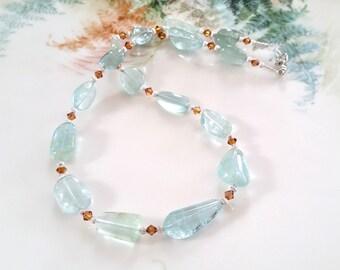 Blue Aquamarine Necklace - Transparent Blue Aquamarine Smooth Nugget Necklace