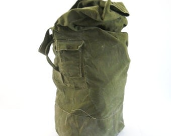 Vintage Military Duffel Bag • Top Loading Canvas Bag • Olive Green Distressed