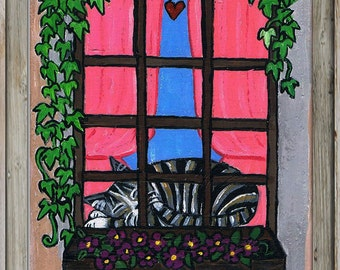 Original Painting Cat Artwork Window Kitty OOAK SFA